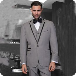 navy blue grey groom tuxedo Australia - Grey Groom Tuxedo Men Suits Pants Notched Lapel Slim Fit Blue Terno Masculino Custom Homme Red Best Man Blazer 3Piece(Coat+Trouser+Vest)