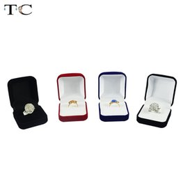 foldable display 2019 - Wholesale Engagement Black Velvet Ring Box Jewelry Display Storage Foldable Case For Wedding Ring Valentine's Day G
