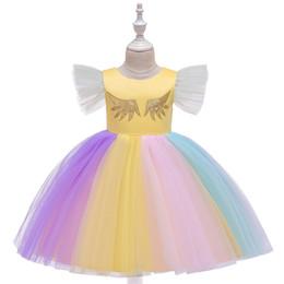 Flowers Girl Dresses Wedding UK - 2019 kids clothes Children's dress princess dress girl wedding pleated unicorn gauze pettiskirt flower girl dress