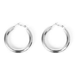 7685eaed2 Bohemian Thick Tube Alloy Eardrop Minimalist Party Silver Fabala Big Hoop  Round Circle Jewelry Earrings Gold