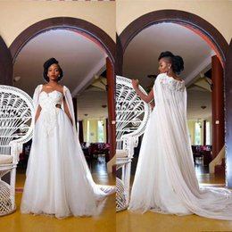 sweetheart wrap Australia - Duabi Arabic A Line Wedding dresses Elegant Sweetheart Lace Appliqued Tulle Long Wrap Custom Made Wedding Gown 2020