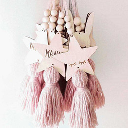 Star Shape glaSSeS online shopping - Nordic Style Cute Star Shape Wooden Beads Tassel Pendant Kids Room Decoration Wall Hanging Ornament for Photography KO895655