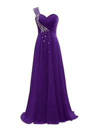 Chinese  Beaded Chiffon One Shoulder Bridesmaid Dresses 2019 Purple Royal Blue Navy Long Formal Evening Gown Lace Up manufacturers