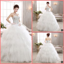 ruffled sweetheart strapless wedding dress Australia - Robe de mariage ball gown white beading ruffled wedding dress strapless with sweetheart neck crystals elegant wedding gowns 2019 best sale