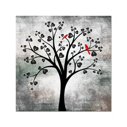 Black White Red Canvas Prints Australia - Unframed 1 Piece Canvas Prints Black and White Tree Canvas Wall Art Tree Branch Love Shape Leaves and Red Birds Rustic Art