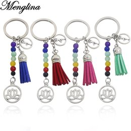 resin buddhas wholesale Australia - Fashion 7 Chakra Bead Metal Lotus Charm Keychain 4 Colors Tassel Healing Balance Buddha Prayer Yoga Key Rings Women Accessories