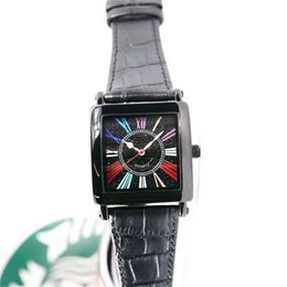 Cheap Black Diamond Watch UK - High Quality Master Square Classic Color Dreams Black Dial Diamond Quartz Mens Watch Branded Case Leather Strap Cheap Roma Number Watches