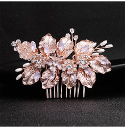 $enCountryForm.capitalKeyWord Australia - 2019 New Arrival Rose Gold Flower Wedding Hair Comb Bridal Hair Accessories Jewelry Headpieces Hairpins Clips for Women JCH210