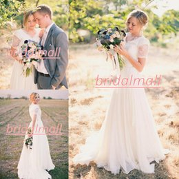 Informal garden weddIng dresses online shopping - Elegant A Line Chiffon Lace Beach Wedding Dresses Short Sleeves V Neck Cheap Simple Spring Garden Wedding Party Informal Bridal Gowns