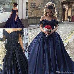 $enCountryForm.capitalKeyWord UK - Dark Navy 2019 Ball Gown Quinceanera Dresses Off Shoulder Lace Appliques Beads Evening Prom Gowns Junior Sweet 16 Vestidos de 15 Anos