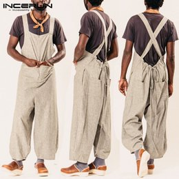 $enCountryForm.capitalKeyWord Australia - INCERUN Casual Loose Men Jumpsuit Striped Overalls Wide Leg Pants Loose Strap Pockets Trousers Men Streetwear Plus Size Harajuku