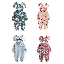 BaBy raBBit cartoon online shopping - Newborn Baby Spring autumn Rompers Long Sleeve Cartoon Rabbit Clothes Toddler Baby Cotton Hooded Climbing Jumpsuit Romper Out LY191205