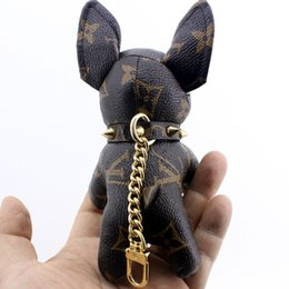3 colors dog Fashion key chain high quality chain bag decoration Keychains free shipping bag chain wihtout box from punched stainless steel manufacturers