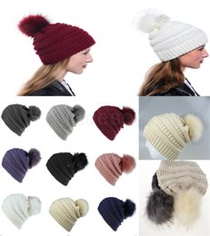 party caps NZ - Women Knitted Beanie Hat Fashion Winter Warm Soft Fur Ball Hat Ladies Skull Solid Crochet Ski Cap Outdoor Party Hat da057