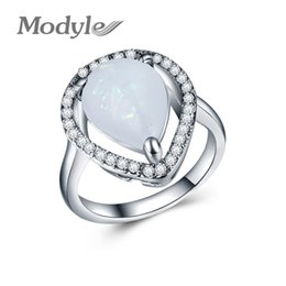 blue opal jewelry sets 2019 - Wukalo Engagement Blue Opal Rings for Women White Crystal Stone Femme Fashion Wedding Jewelry anillos mujer discount blu