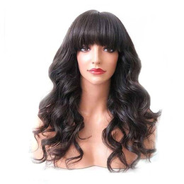 Peruvian body wave wig light brown online shopping - Human Hair Wigs With Bangs For Black Women Body Wave Virgin Brazilian Pre Plucked Full Lace Front Wig Bang With Baby Hair