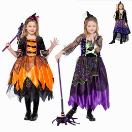 magic girl cosplay NZ - Baby Kids Children Cosplay Costumes Little witch princess dress Carnival Halloween Cosplay Costumes for Girls dress Magic skirt
