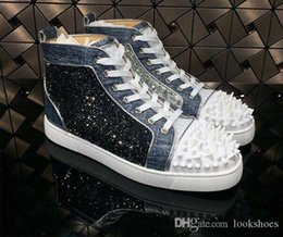 genuine leather parts Australia - Famous Designer Pik Pik High Quality Red Bottom Sneaker Rivets Luxury blue leather Sequin rhinestones With Outdoor Casual Walking Dress Part
