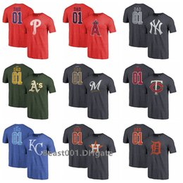 f3ed968c Phillies Athletics Yankees Twins Brewers Angels Royals Astros Tigers 2019  Father Day Greatest Dad Tri-Blend T-Shirt