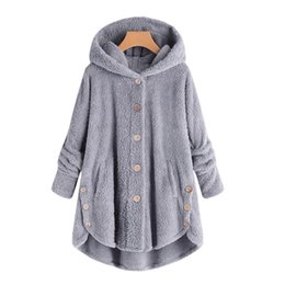oxfords for women tassel UK - Hot Winter Plus Size S-5XL Women Button Coat Fluffy Tail Tops Hooded Pullover Loose Oversize Coats Warm Outwear For 2019 Fashion