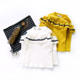 Children White Tees Australia - Fall Children T Shirt Fashion Baby Girls Tops Hollow Out Ruffle Crew Collar T Shirts for Party Girls Long Sleeve Kids Blouse Tee