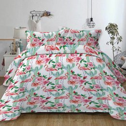 Bedding sets for adult girl online shopping - Flamingo Bedding Set Cactus Creative Sweet White Duvet Cover For Girl Queen King Single Double Full Twin Soft Bed Cover with Pillowcase