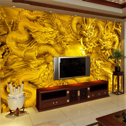 Chinese 3d Wall Stickers NZ - Chinese Glod Gragon 3d Papel Murals Wallpaper for Living Room Background 3d Wall Photo Murals Wall paper 3d Wall Stickers