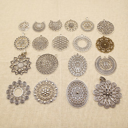 jewelry making supplies Australia - 20 Pieces Jewelry Making Supplies Round Flower Sunflower Sri Yantra Pattern Mandala Pattern HJ225