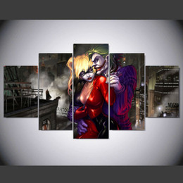 $enCountryForm.capitalKeyWord Australia - 5 Panel Suicide Squad Joker With Harley Quinn Home Decoracion Canvas Art Wall Picture Home Decor For Living Room Prints No Frame