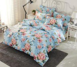 Discount striped sheet sets - Floral 4 Pcs Bedding Set Romantic Beautiful Flowers Printed Duvet Cover Set Sheet Pillowcase Full Size