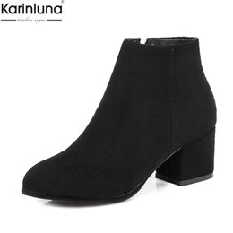 Chinese  KARINLUNA 2018 dropship large Size 32-45 women Ankle Boots Shoes elegant square heels woman shoes female boots manufacturers