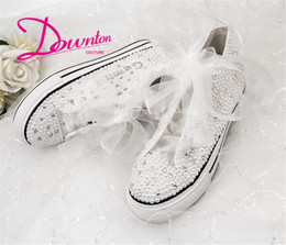 hand painting canvas shoes NZ - Handmade Custom Letters Crystals Pearls Wedding Shoe Sneakers Bridal Platform Canvas plimsoll bridesmaid Sneaker shoes size 34-42