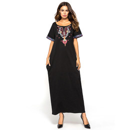 Discount embroidered robes - Muslim Middle Eastern Dress Arab Short Sleeve Dress Female Embroidered Casual Islamic Dubai Clothing Robes