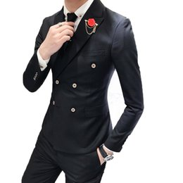 double collar jackets for men 2020 - 2019 Black Wedding Suits For Men Collar Slim Fit 3 Pieces (Jacket +Vest+Pants) Custom Made Wedding Groom Prom Tuxedos Su
