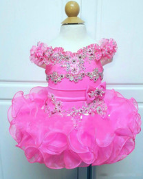 hot pink cupcakes UK - Hot Pink 2019 Off The Shoulder Cupcake Girls Pageant Gown Ruffles Tiered Skirts First Communion Dresses Short Mini Beaded Girls Party wear