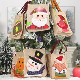 gift cloth tote bags wholesale Canada - Burlap appliqu gift bag new Year snowman Cartoon candy bag Christmas balls Santa Claus Christmas decorations Tote AF257