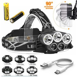 caving headlamps UK - Head Lamp LED Headlamp white light 6000K IP44 Waterproof USB Rechargeable outdoor tool camping hiking night riding caving hunting fishing