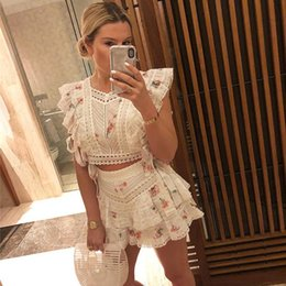 $enCountryForm.capitalKeyWord Australia - Summer Designer Two Piece Sets Women's Printed Embroidery Cutout Sexy Cotton Top + Shorts Resort Vocation Suits 2019