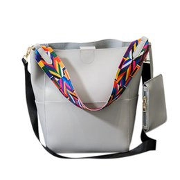 Discount office cross body bags - banabanma Fashion Women PU Leather Shoulder Bag Bucket Cross Body Bag Handbag Office Ladies Ethnic colored straps ZK30