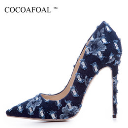 $enCountryForm.capitalKeyWord Australia - Cocoafoal Woman Denim Pumps Plus Size 33 - 43 Pointed Toe Fashion Sexy Wedding Pumps Party Stiletto 12 Cm Ultra High Heels Shoes