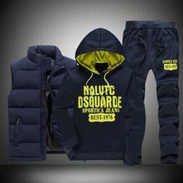 Zipper Down Vest Australia - 2018 FashionTracksuit Men's Hoodie Men Casual Active Suit Zipper Outwear Jacket+Pants Sets+Warm Down Vest Jacket Three piece set