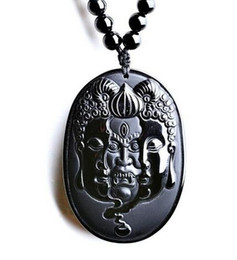 Carved Jade Red Pendants Australia - 57x40mm beautiful Natural black obsidian carved Buddhism Gost amulet luck pendant + pearl necklace fashion crystal jewelry