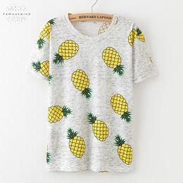 Wholesale banana t shirt online – design Newest T Shirt Ice Pineapple Banana Print Tee Short Sleeve O Neck Casual T Shirt Women Cap Sleeve Cotton Shirts