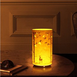 $enCountryForm.capitalKeyWord Australia - Table Lamp Chinese Classical LED Parchment Bedside Night Light Christmas Decoration chargeable with Remote Control JK0063