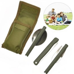 Knife Set For Camping Australia - Portable Mini Tableware Set outdoor Tool Folding Cutlery Set with Spoon Fork Knives for Camping Picnic Stainless Steel Talheres