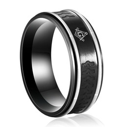 $enCountryForm.capitalKeyWord Australia - Unique High Quality Stainless steel Fashion Black Men's Laser Masonic signet freemason rings compass and square Lodge Emblem 8MM width