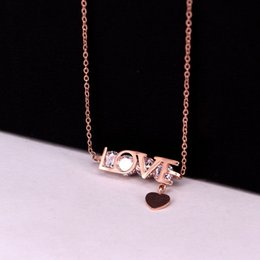 $enCountryForm.capitalKeyWord Australia - Stainless Steel Love English Letter Cubic Zirconia Heart clavicle chain Necklaces Silver Rose Gold Color Women Female Gift
