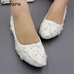 56abfab02aa White Slip On Flat Wedding Shoes Lace Leaves Beaded Bridal Flat Shoes Women  Ladies Pointed Toe Flats Pointy Toes 3Cm 5Cm