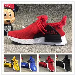 66981904a New kids Human Race Runing Shoes boys girls Solar Pack Black Yellow PW HU  HOLI Pharrell Williams Children Sneakers baby birthday gift 26-35