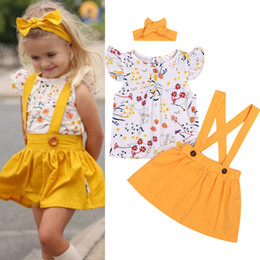 $enCountryForm.capitalKeyWord Australia - Summer baby girl kids clothes Set short sleeve printed top+Yellow strap skirt+bows Headband 3 pcs sets Kids Designer Clothes Girls JY362